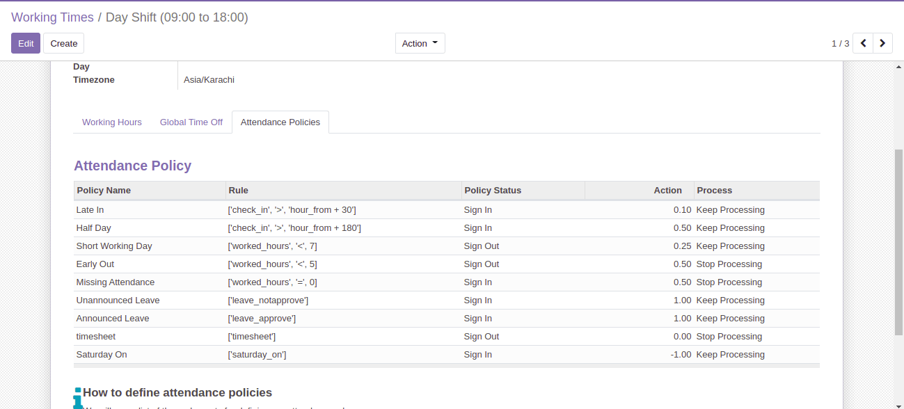 Odoo Extension for Attendance Policy Management