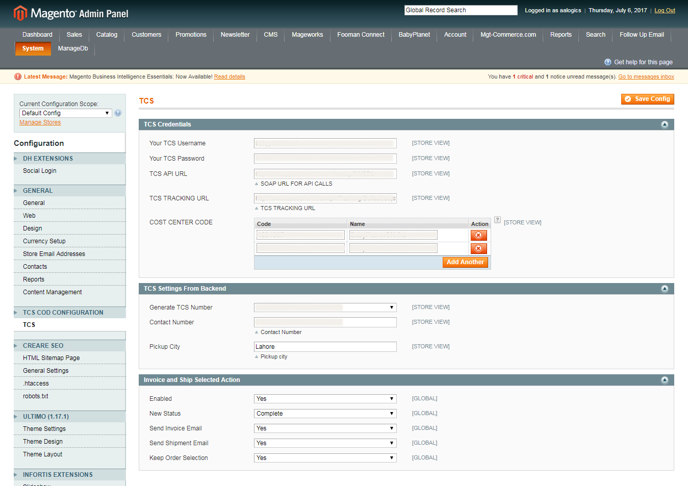 Magento Tcs Extension
