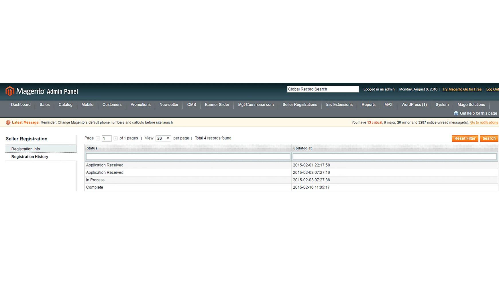 Magento seller registration