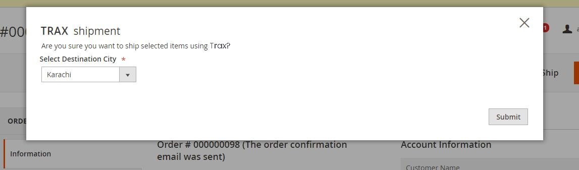 trax cod module confirmation