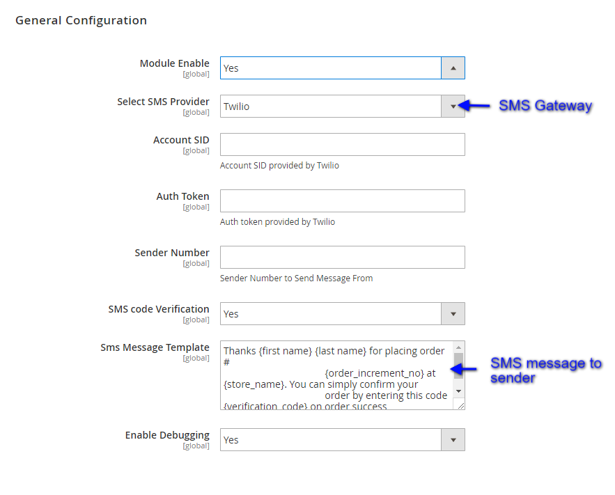 Configuration setting of sms extension